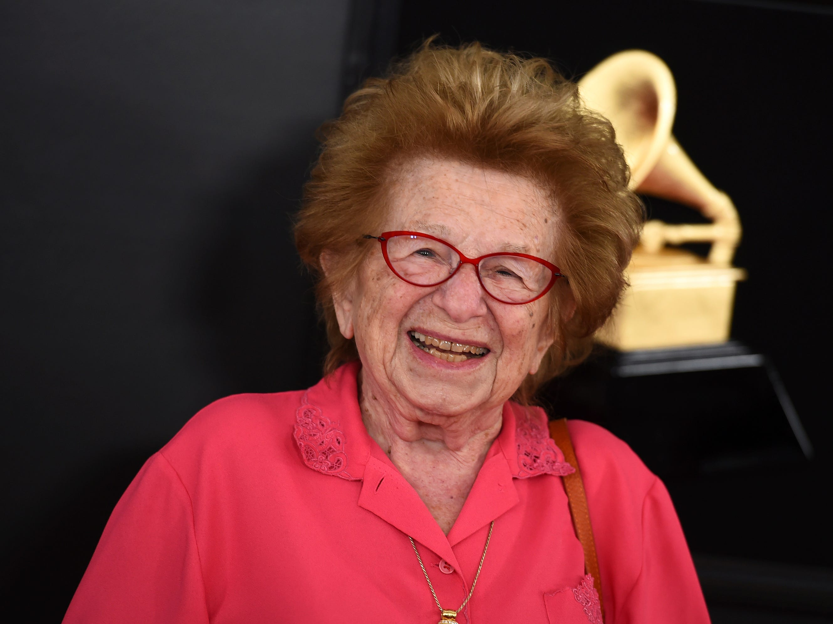 Ruth Westheimer arrives at the 61st annual Grammy Awards at the Staples Center on Sunday, Feb. 10, 2019, in Los Angeles.