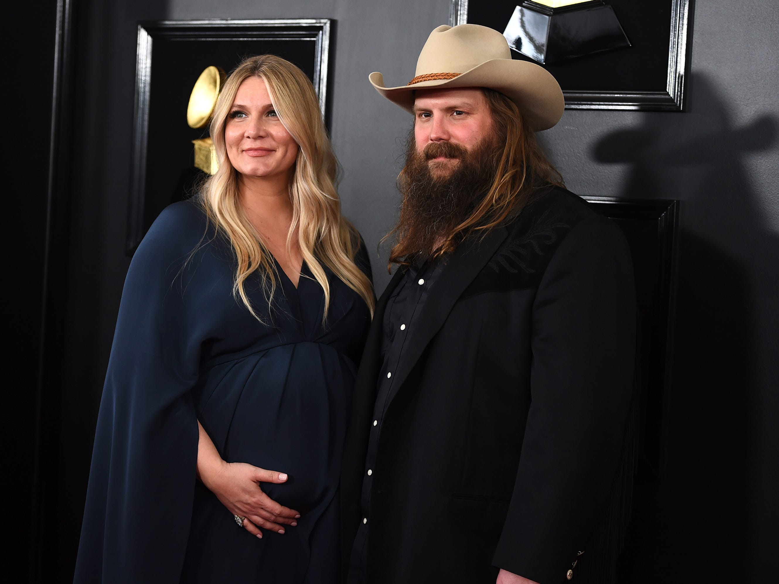 Morgane Stapleton, left, and Chris Stapleton arrive at the 61st annual Grammy Awards at the Staples Center on Sunday, Feb. 10, 2019, in Los Angeles.