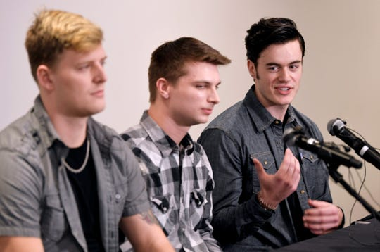 Carverton band members, from left Michael Wiebell, Michael Curry and Christian Ferguson, talk about fellow member Kyle Yorlets during a press conference  at Belmont University on Monday, Feb. 11, 2019. Police have charged five juveniles in the case. A memorial service was scheduled to follow.