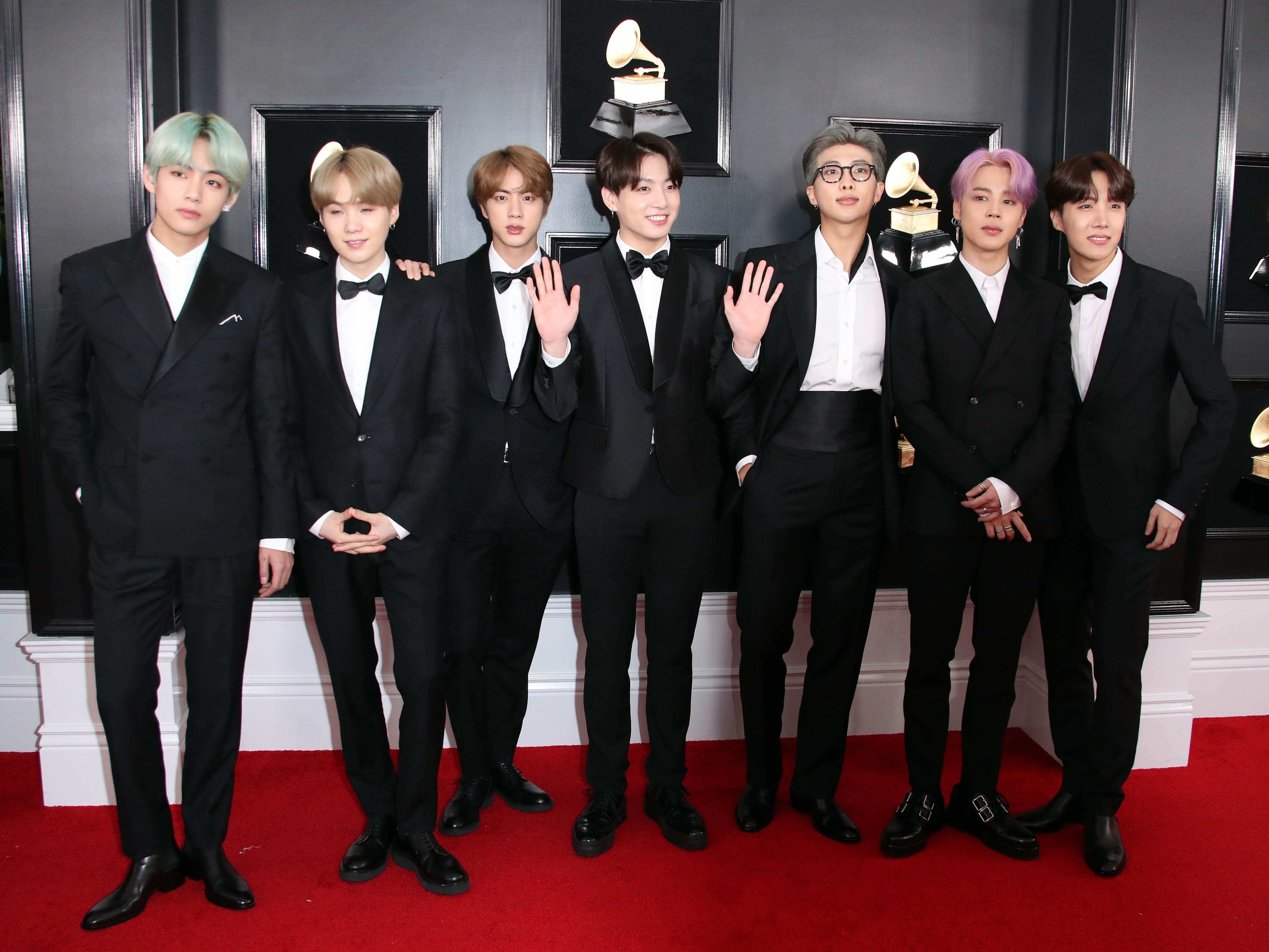 BTS attends the 61st Annual GRAMMY Awards on Feb. 10, 2019 at STAPLES Center in Los Angeles, Calif.