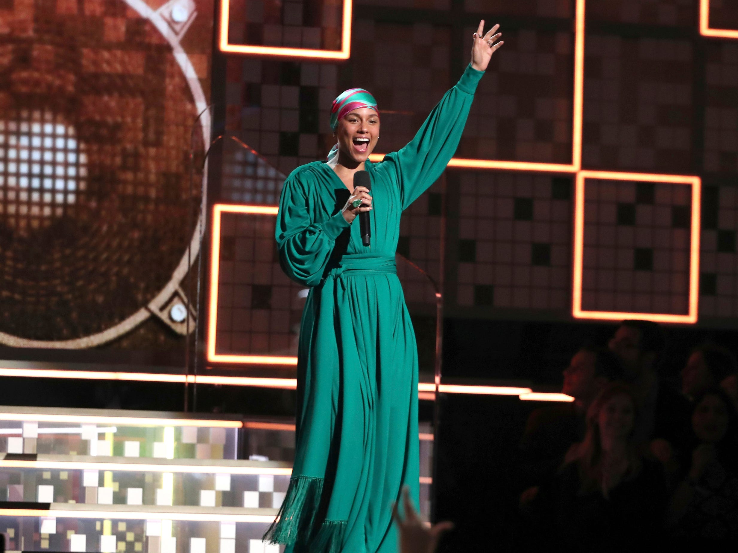 Host Alicia Keys speaks at the 61st annual Grammy Awards on Sunday, Feb. 10, 2019, in Los Angeles.