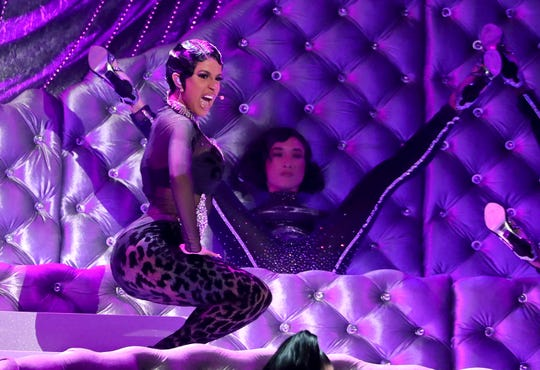 """Cardi B performs """"Money"""" at the 61st annual Grammy Awards on Sunday, Feb. 10, 2019, in Los Angeles."""