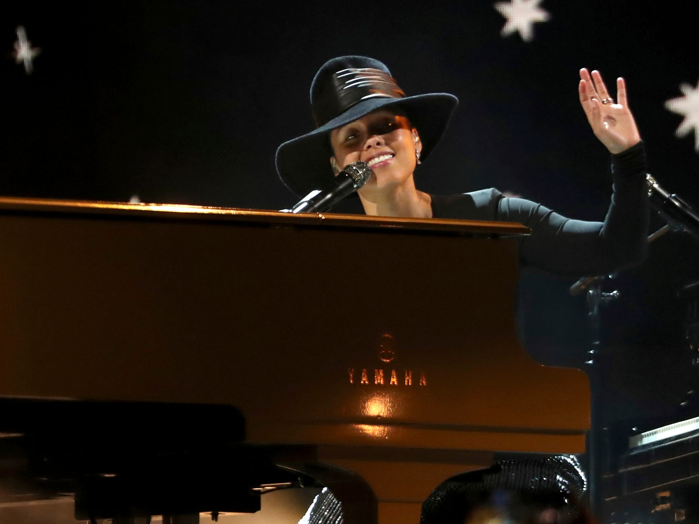 Host Alicia Keys performs a medley at the 61st annual Grammy Awards on Sunday, Feb. 10, 2019, in Los Angeles.