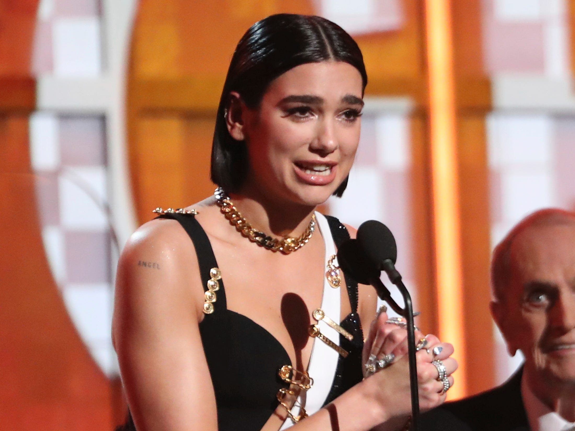 Dua Lipa accepts the award for best new artist at the 61st annual Grammy Awards on Sunday, Feb. 10, 2019, in Los Angeles. \