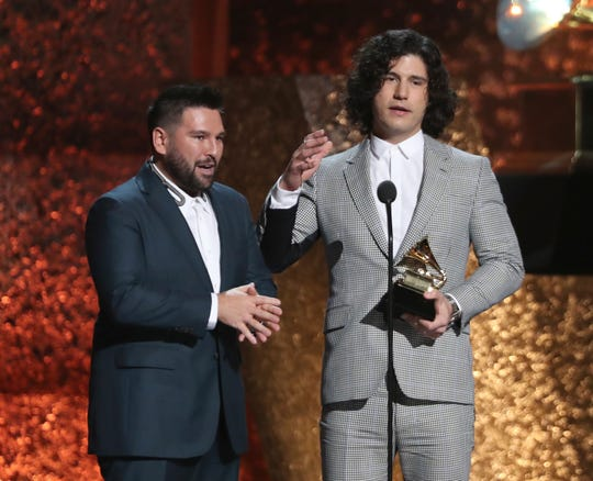 "Shay Mooney, left, and Dan Smyers of Dan + Shay accept the award for Best Country Duo/Group Performance for ""Tequila"" at the 61st annual Grammy Awards on Feb. 10, 2019, in Los Angeles."