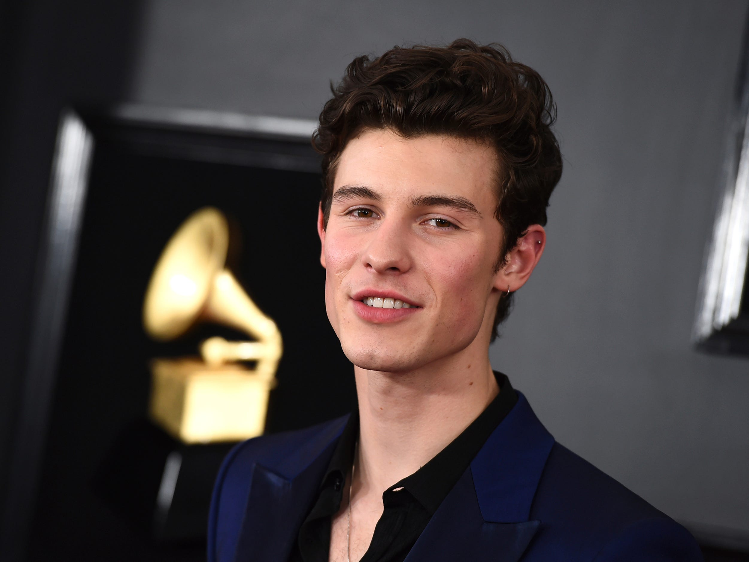 Shawn Mendes arrives at the 61st annual Grammy Awards at the Staples Center on Sunday, Feb. 10, 2019, in Los Angeles.