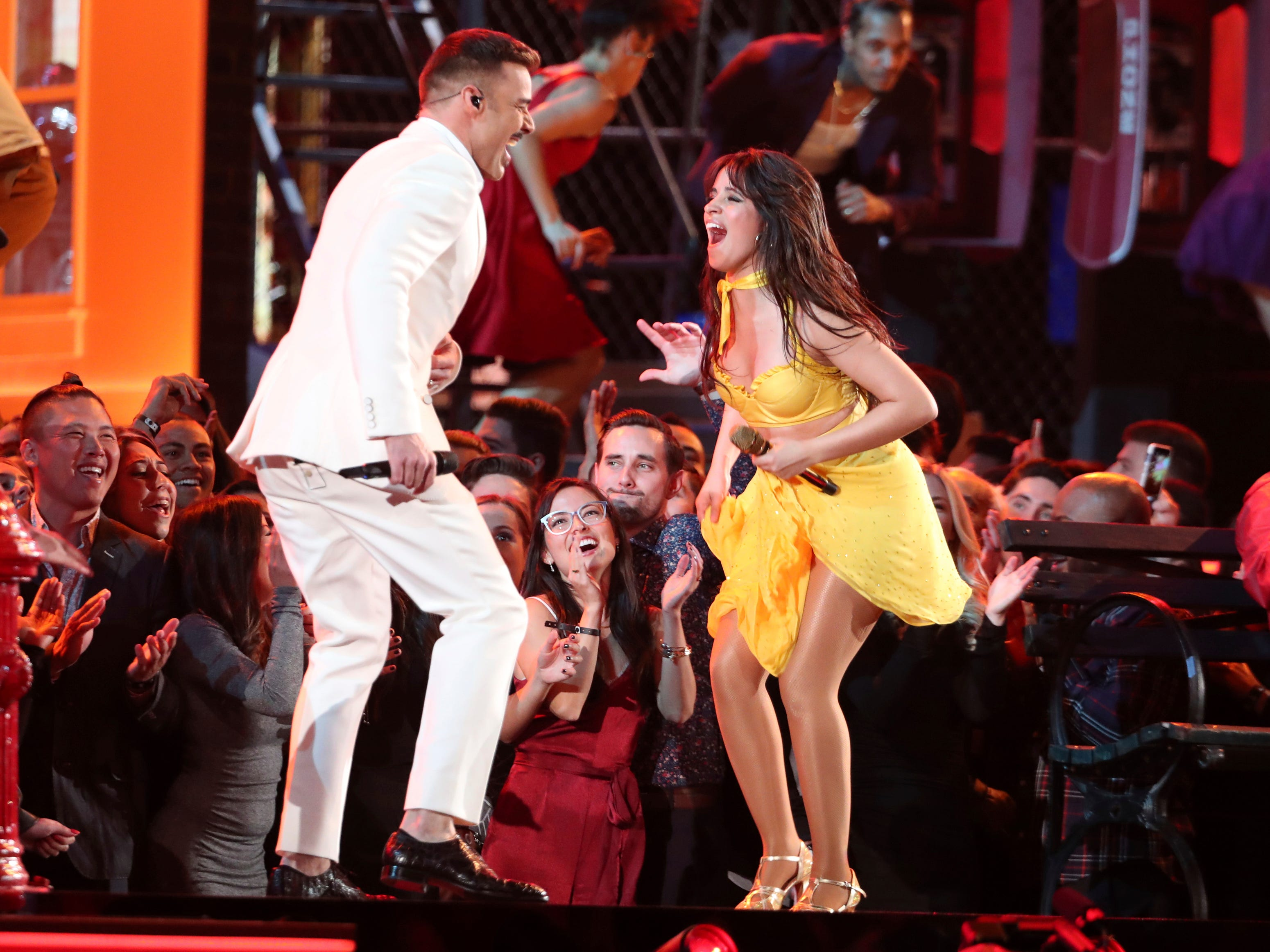 "Ricky Martin, left, and Camila Cabello perform ""Havana"" at the 61st annual Grammy Awards on Sunday, Feb. 10, 2019, in Los Angeles."