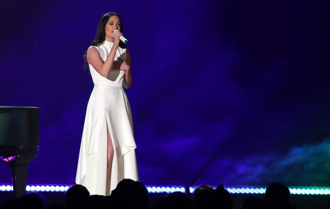 """Kacey Musgraves performs """"Rainbow"""" at the 61st annual Grammy Awards on Sunday, Feb. 10, 2019, in Los Angeles."""