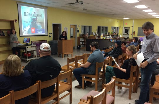 Parents prepare to listen to a presentation on e-cigs and vaping use by teenage students, presented by Dickson County Health Department officials. Also presenting was an Austin Peay State University professor of Psychological Science and Counseling.