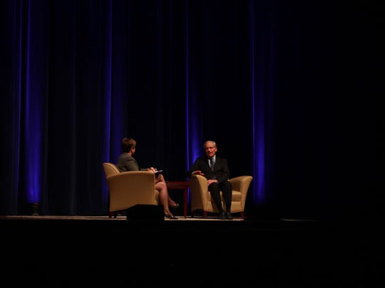 "Demetria Kalodimos interviews Washington Post journalist and author Bob Woodward about journalism and his latest book, ""Fear,"" on Sunday night at the War Memorial Auditorium in Nashville."