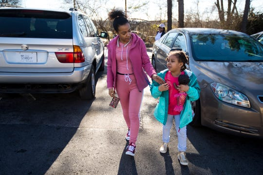 Chelsea Rucker runs errands with her daughter Chloe Rucker, 6, in Nashville on Saturday, Feb. 9, 2019.