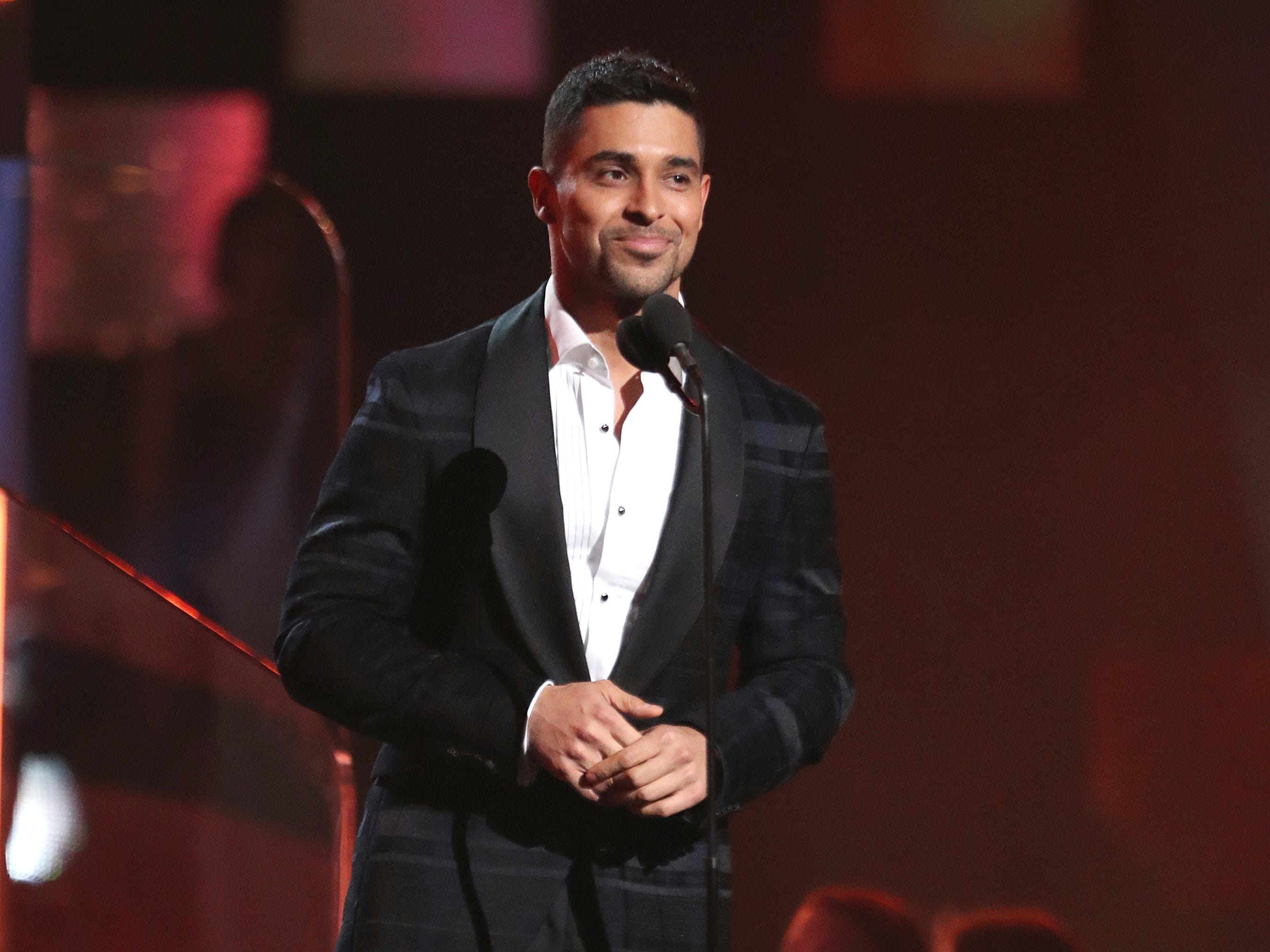Wilmer Valderrama introduces a performance by Dua Lipa and St. Vincent at the 61st annual Grammy Awards on Sunday, Feb. 10, 2019, in Los Angeles.