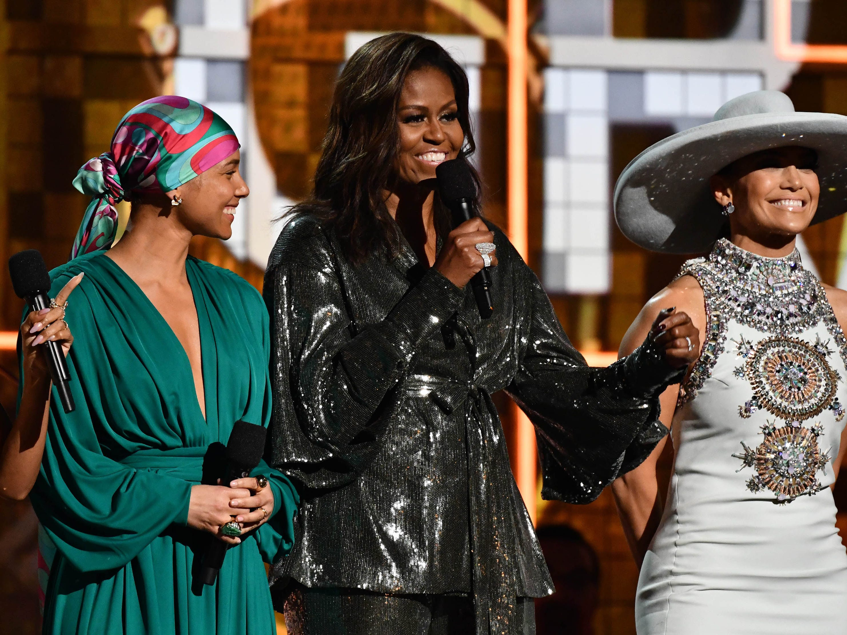Jada Pinkett-Smith, Alicia Keys and Michelle Obama and Jennifer Lopez appear during the 61st Annual GRAMMY Awards on Feb. 10, 2019 at STAPLES Center in Los Angeles, Calif.