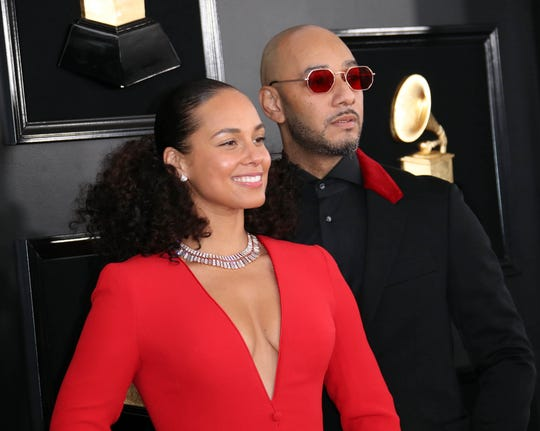Alicia Keys and husband Swizz Beatz attend the 61st Annual Grammy Awards on Feb. 10, 2019.
