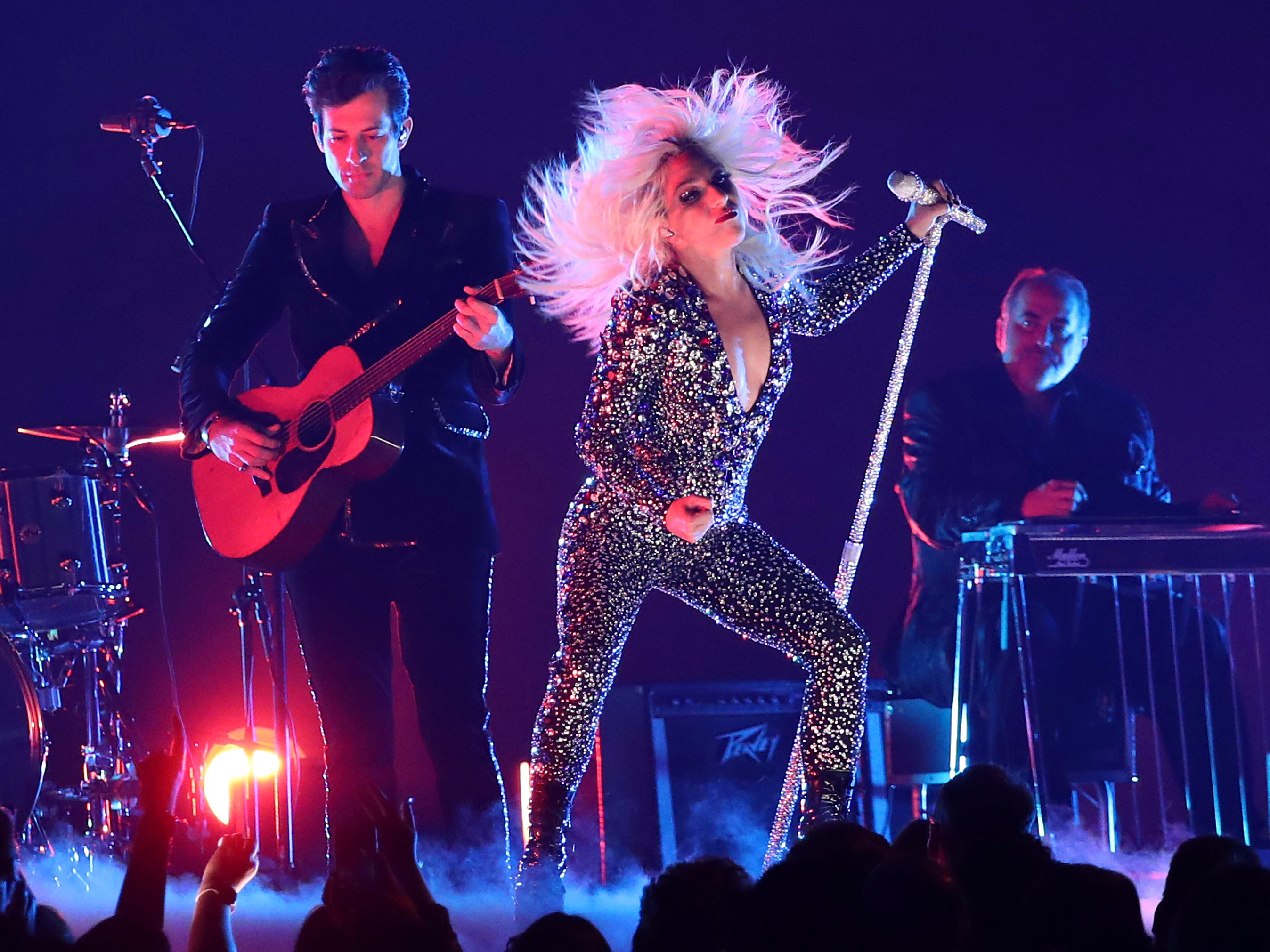 "Lady Gaga, right, and Mark Ronson perform ""Shallow"" at the 61st annual Grammy Awards on Sunday, Feb. 10, 2019, in Los Angeles."