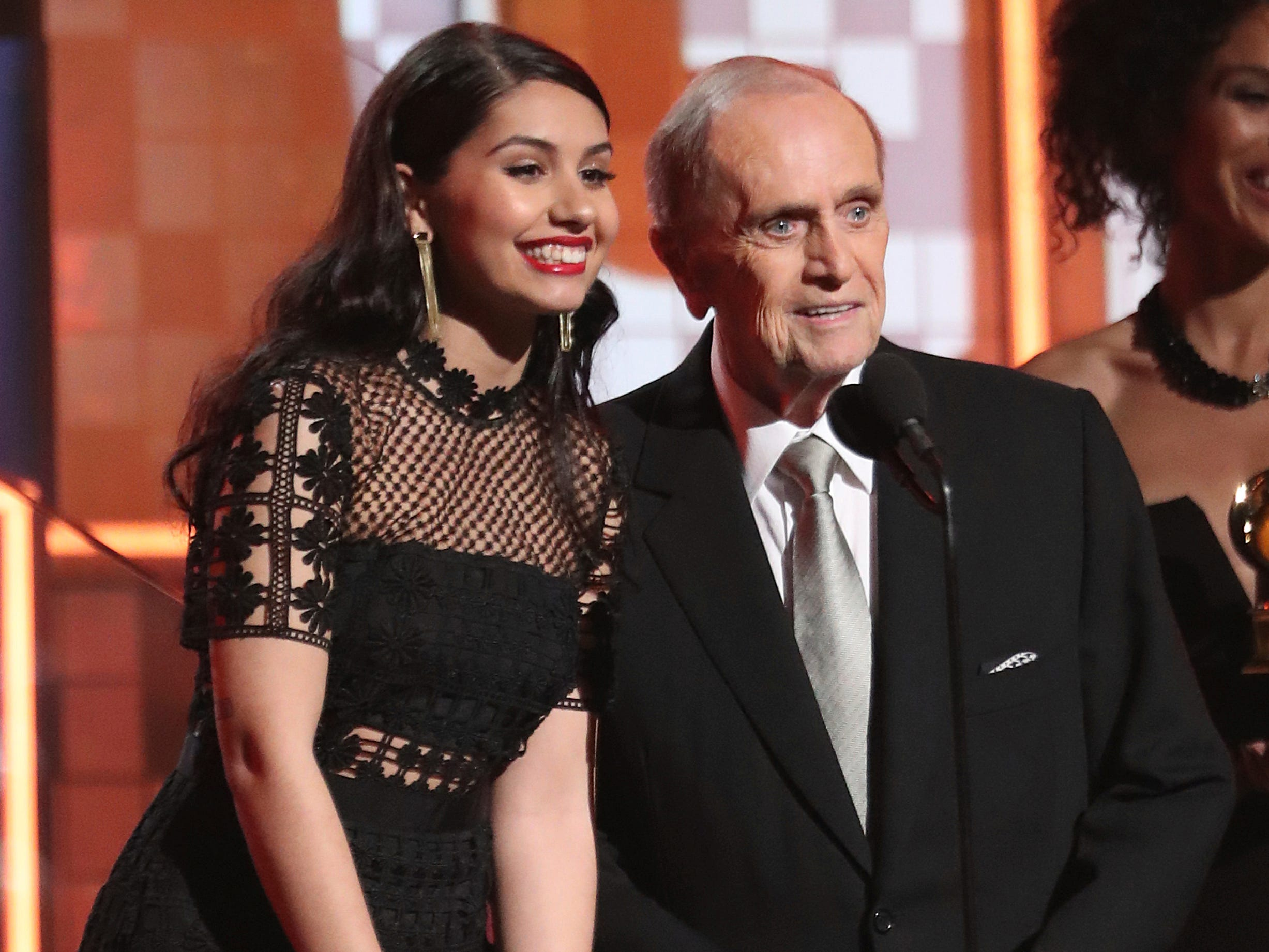 Alessia Cara, left, and Bob Newhart present the award for best new artist at the 61st annual Grammy Awards on Sunday, Feb. 10, 2019, in Los Angeles.