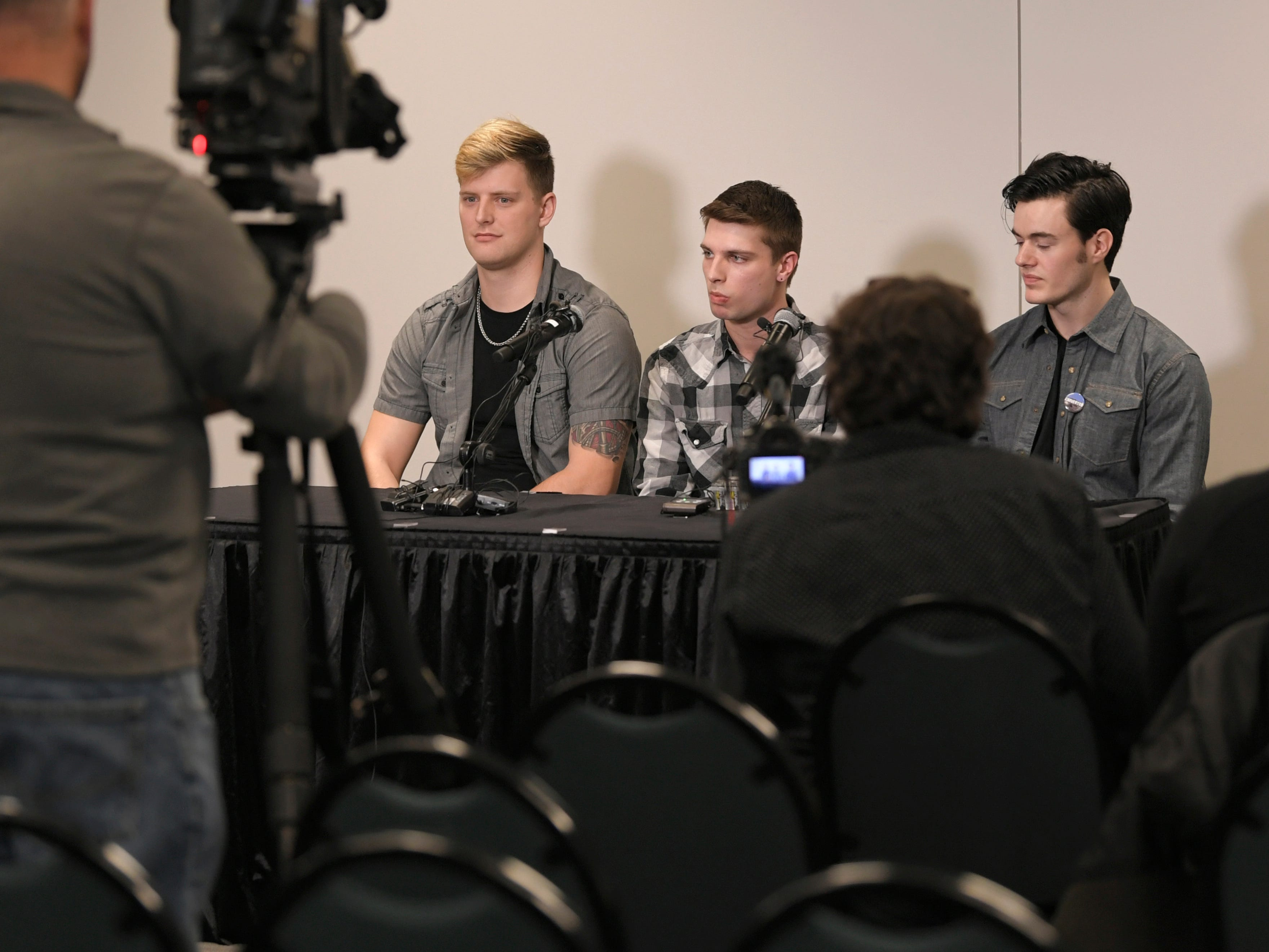 Carverton band members, from left, Michael Wiebell, Michael Curry and Christian Ferguson, speak to the media about fellow member Kyle Yorlets during a press conference at Belmont University on Monday, Feb. 11, 2019. Police have charged five juveniles in the case. A memorial service was scheduled to follow.