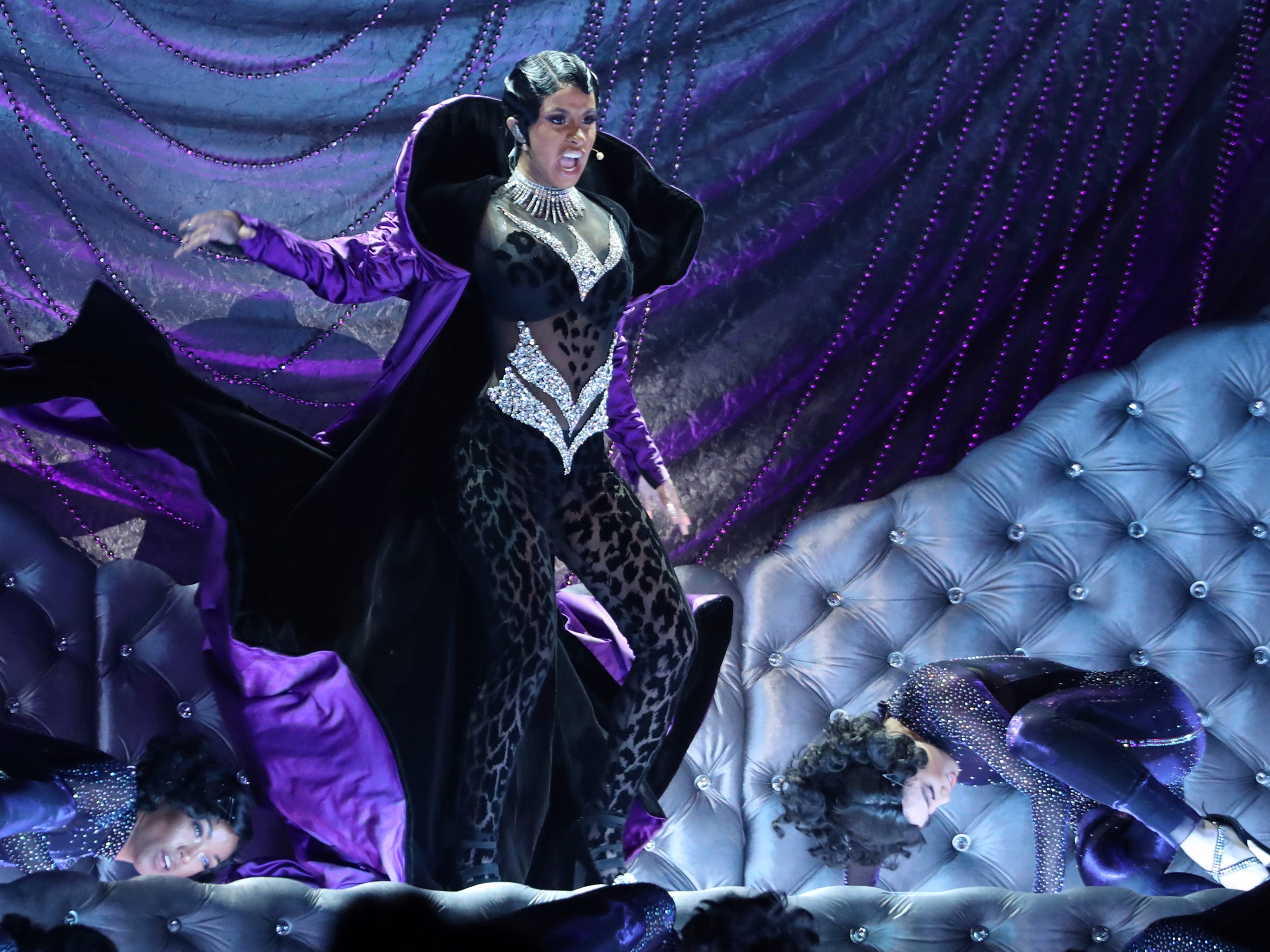 "Cardi B performs ""Money"" at the 61st annual Grammy Awards on Sunday, Feb. 10, 2019, in Los Angeles."
