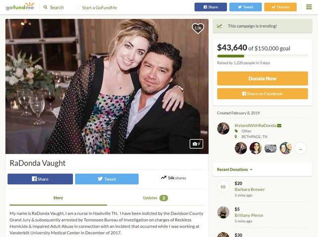 Vanderbilt nurse: $43k raised for Radonda Vaught's defense in