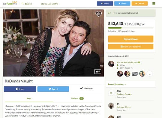 A screenshot of a GoFundMe page for Radonda Vaught, a former Vanderbilt nurse who has been indicted with reckless homicide after a fatal medication error.