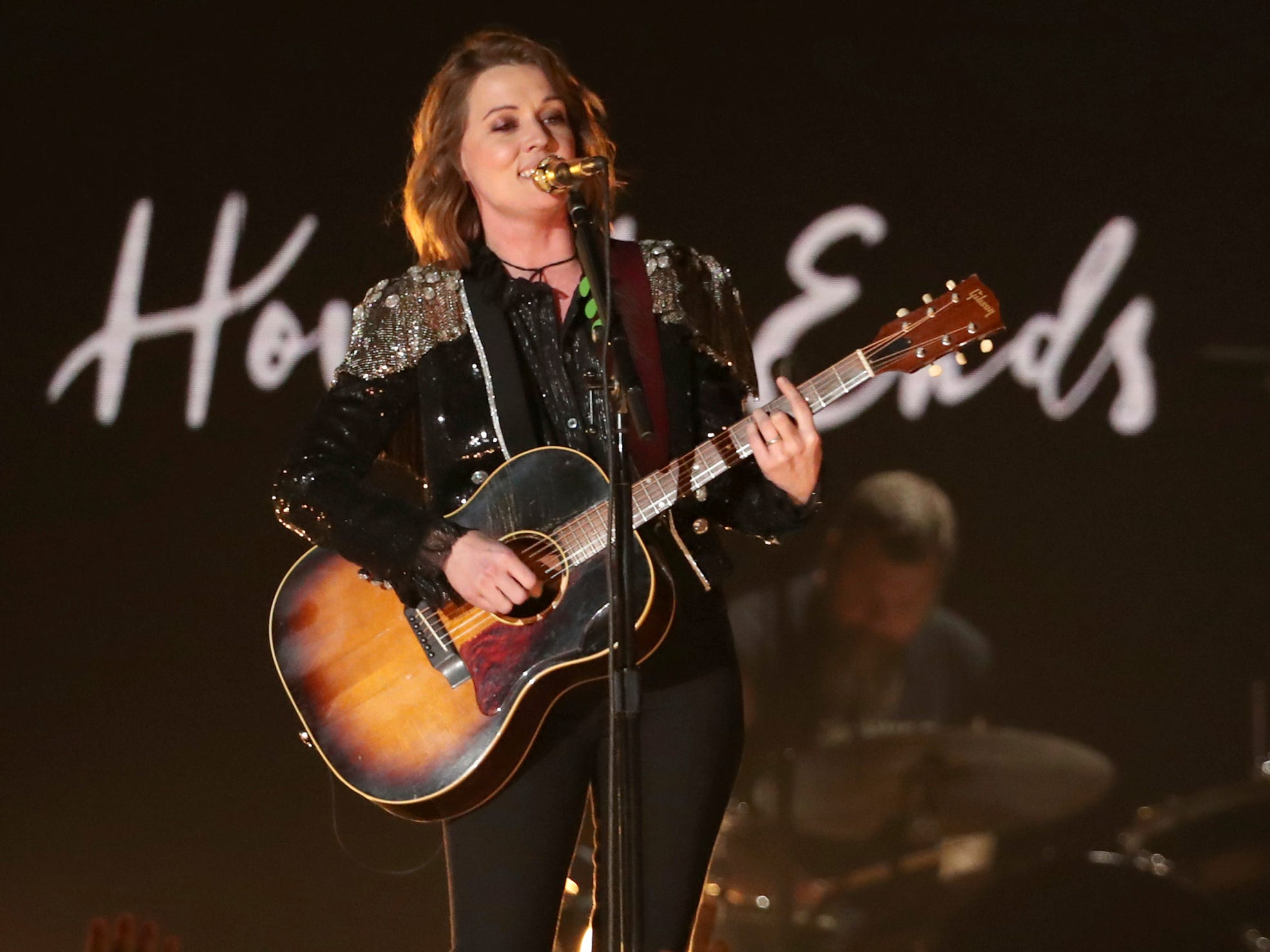 "Brandi Carlile performs ""The Joke"" at the 61st annual Grammy Awards on Sunday, Feb. 10, 2019, in Los Angeles."