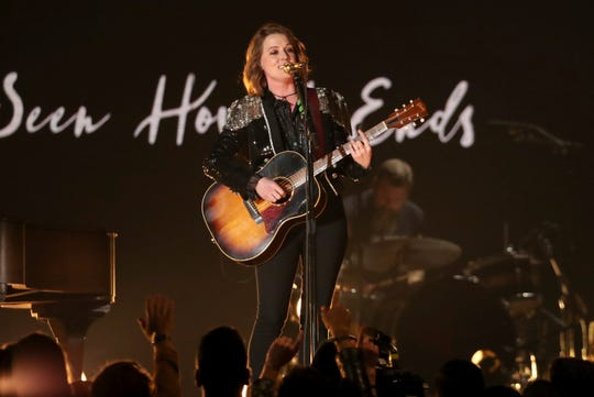 """Brandi Carlile performs """"The Joke"""" at the 61st annual Grammy Awards on Sunday, Feb. 10, 2019, in Los Angeles."""