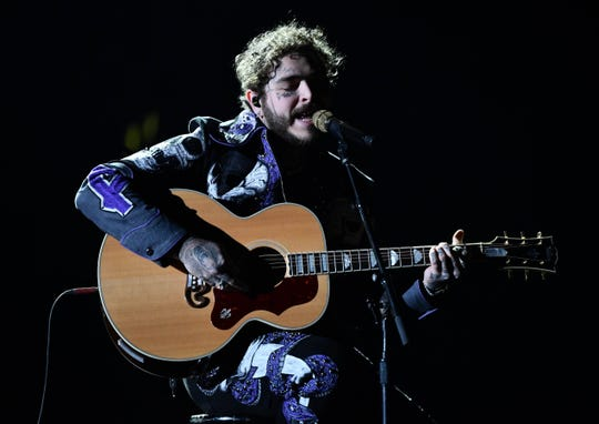 Post Malone performs during the 61st Annual GRAMMY Awards on Feb. 10, 2019 at STAPLES Center in Los Angeles, Calif.