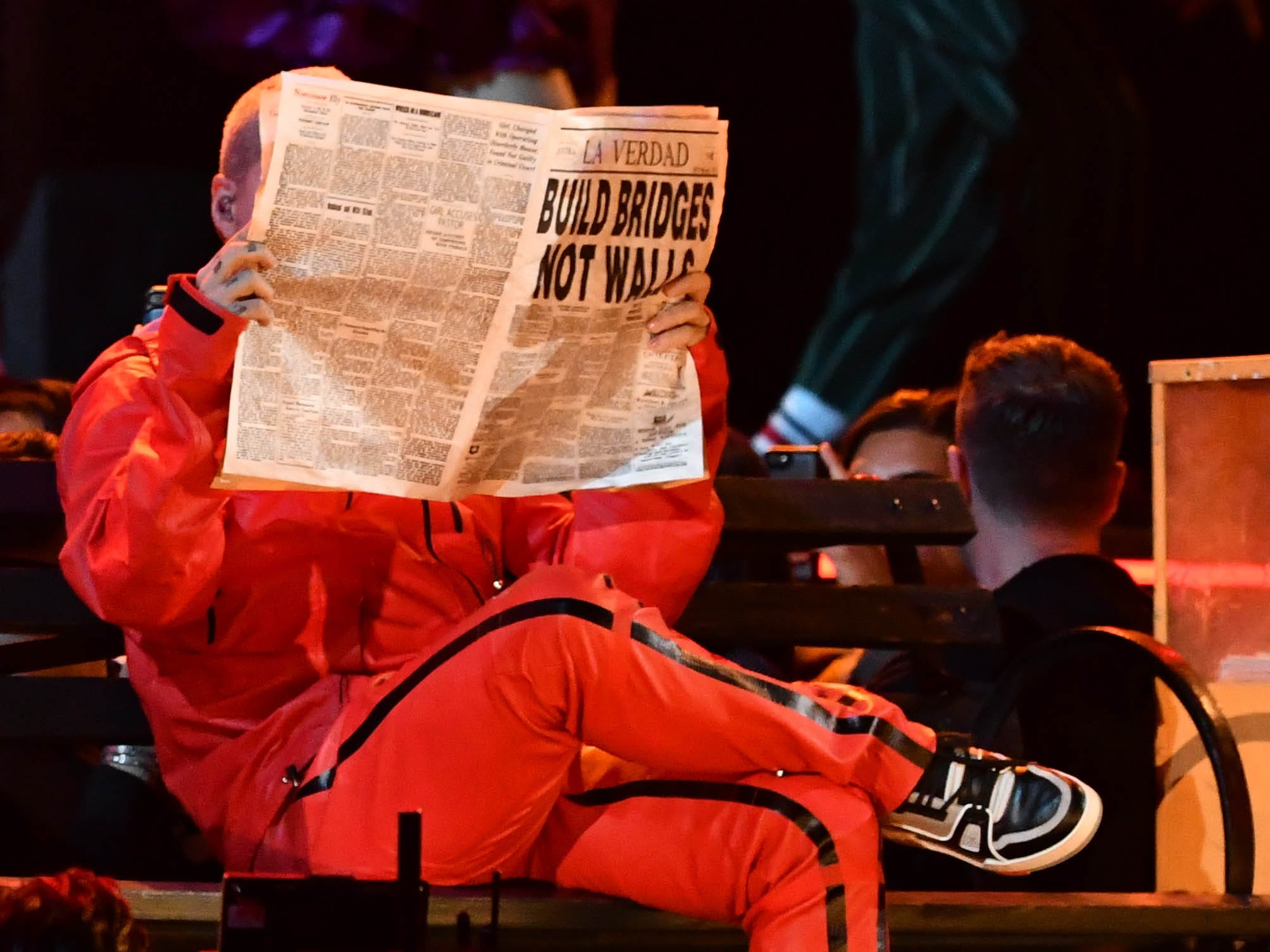 View of a newspaper held by J Balvin during a performance in the 61st Annual GRAMMY Awards on Feb. 10, 2019 at STAPLES Center in Los Angeles, Calif.
