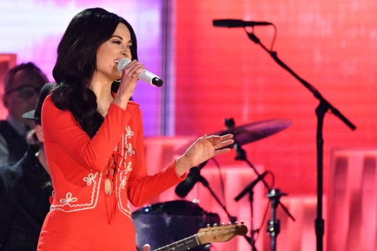"Kacey Musgraves sings ""Here you come again"" as part of a tribute to Dolly Parton during the 61st Annual GRAMMY Awards on Feb. 10, 2019 at STAPLES Center in Los Angeles, Calif."