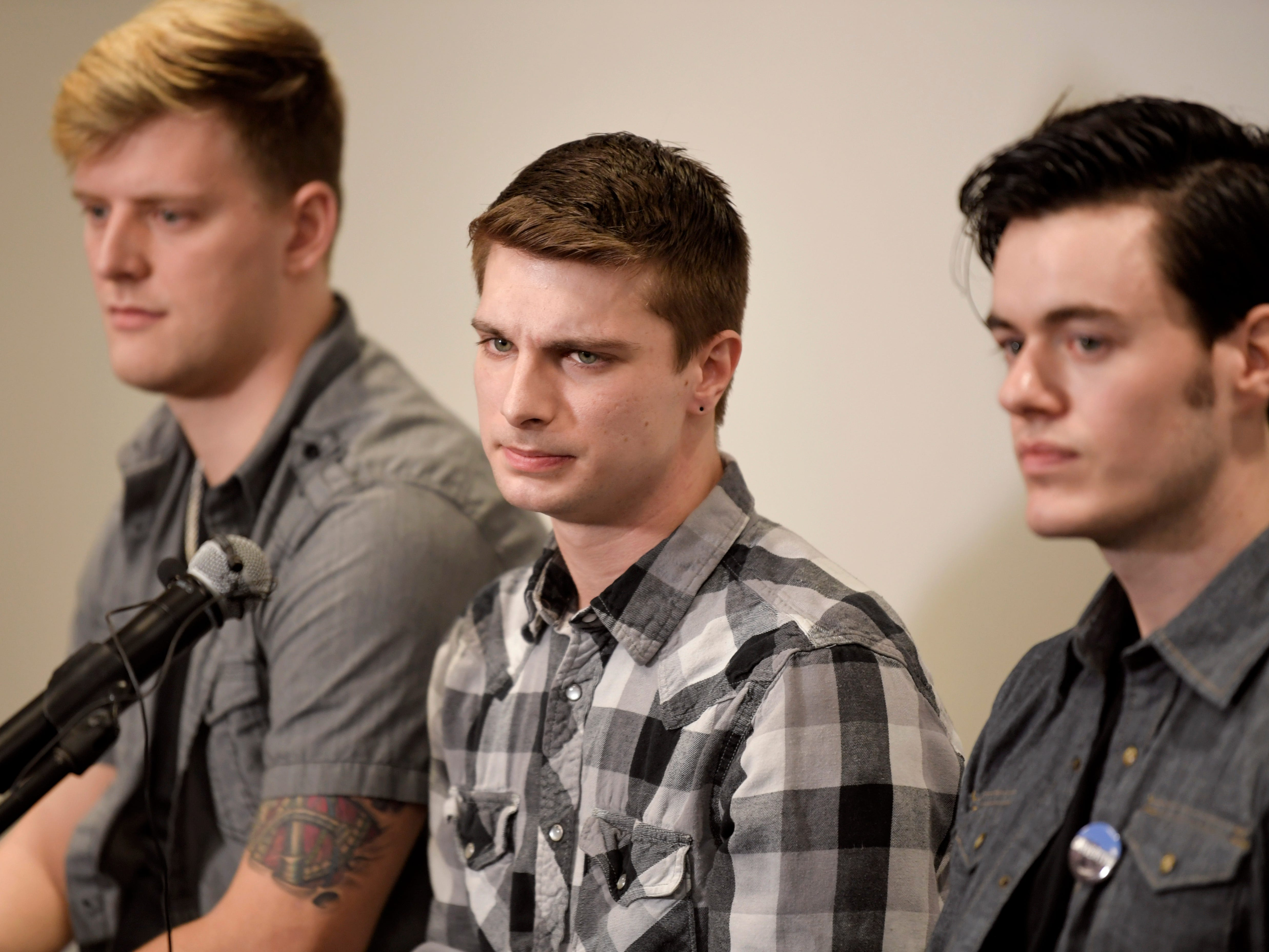 Carverton band members, from left, Michael Wiebell, Michael Curry and Christian Ferguson, talk about fellow member Kyle Yorlets during a press conference  at Belmont University on Monday, Feb. 11, 2019. Police have charged five juveniles in the case. A memorial service was scheduled to follow.
