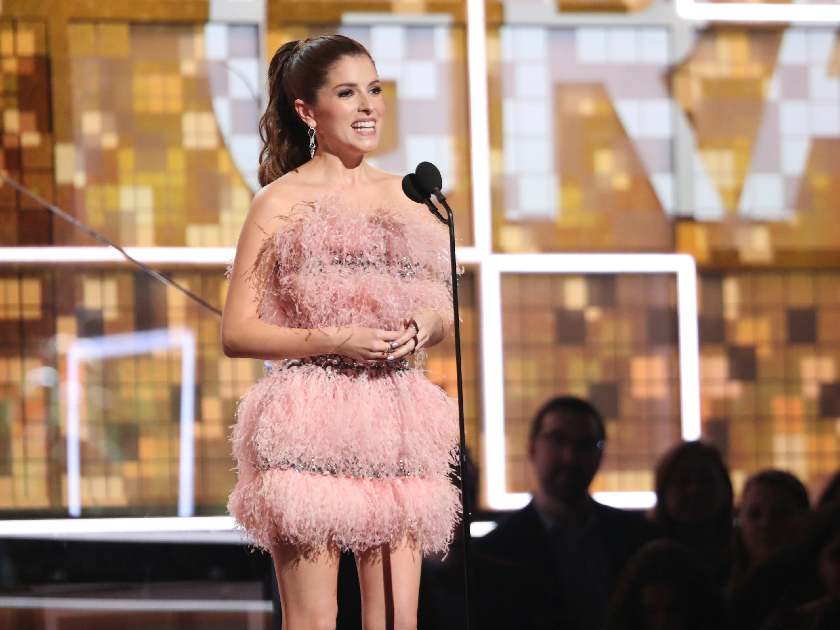 Anna Kendrick introduces a performance by Dolly Parton at the 61st annual Grammy Awards on Sunday, Feb. 10, 2019, in Los Angeles.