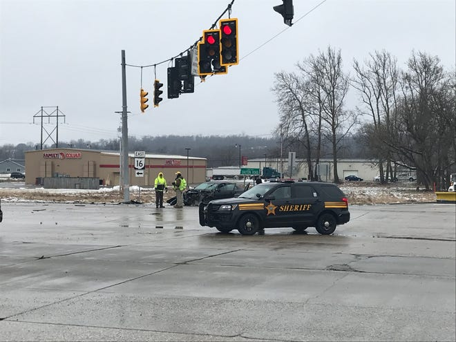 A three-vehicle accident involving a semi closed Ohio 16 in both directions at the intersection with Dayton Road in Newark on Monday, Feb. 11, 2019.