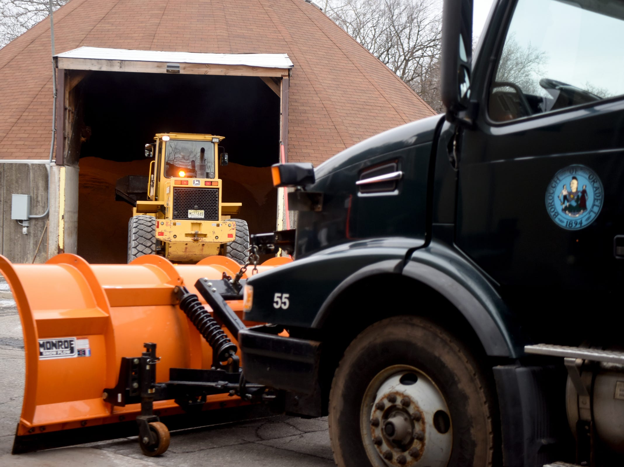 Borough of Oradell Department of Public Works employees fill snow plows with salt on Monday, February 11, 2019 in preparation for a winter storm that could bring snow, ice and freezing rain on Tuesday.