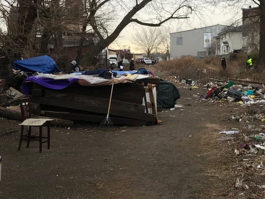 A number of make shift shelters have been crafted along a stretch of abandoned rail line in city of Passaic.