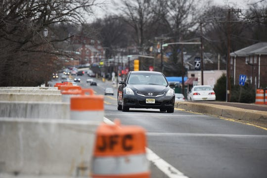 The traffic on Anderson Street Bridge ( which connects Teaneck and Hackensack) has had two lanes closed to traffic since September 2012, photographed on 02/11/19. The photo looks toward Teaneck.