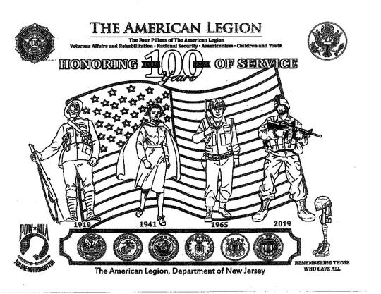 The New Jersey American Legion's 2019 color contest page. Glen Rock students will not participate this year.
