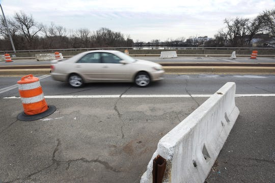 The traffic on Anderson Street Bridge ( which connects Teaneck and Hackensack) has had two lanes closed to traffic since September 2012, photographed on 02/11/19. The car shown goes toward Hackensack.