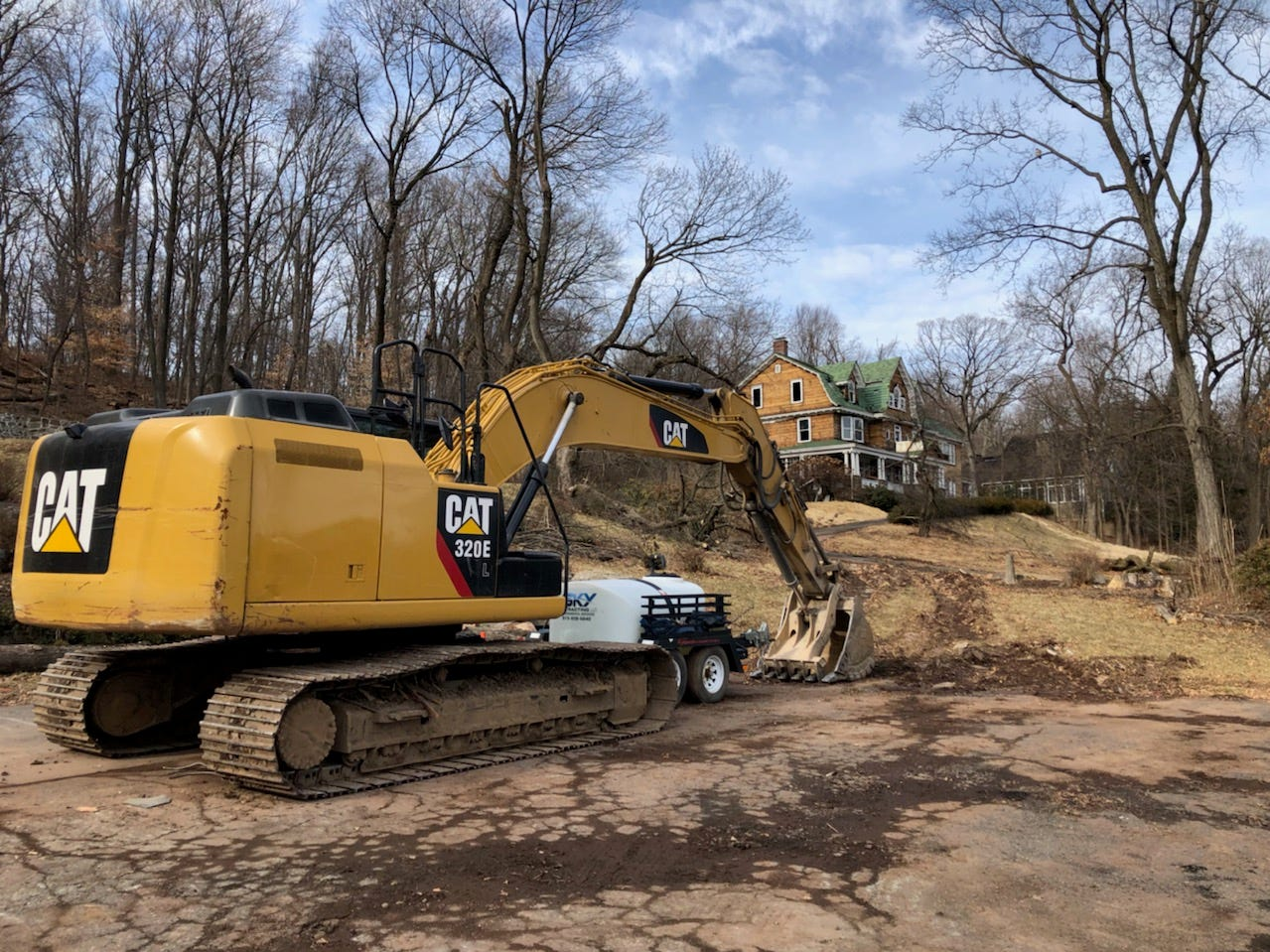 A construction vehicle seems pointed toward 172 Lloyd Road, a Montclair historic mansion also owned by 41 Underhill LLC, which demolished the home at that address this weekend. February 10, 2019.