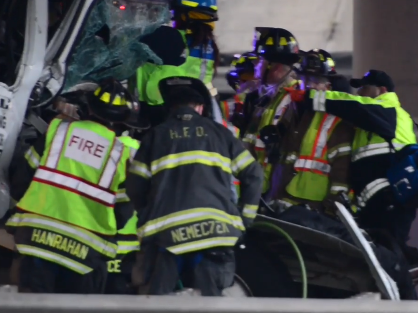 Emergency personnel attempt to extricate a person from the cab of truck on I-95 northbound in Teaneck on Monday February 11, 2019. The accident between two truck under the Degraw Ave overpass has stopped all express lane traffic.