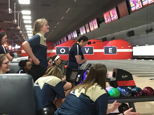 Toms River North junior Kamerin Peters smiles upon seeing the scoreboard during the NJSIAA girls bowling Tournament of Champions finals on Monday, Feb. 11, 2019 at Bowlero North Brunswick. The Mariners defeated Freehold Township, 3-0.