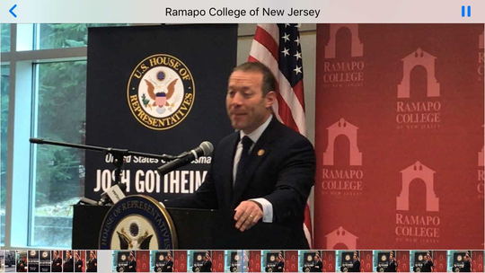 Josh Gottheimer deliver his State of the Region speech at Ramapo College of New Jersey in Mahwah on Monday.