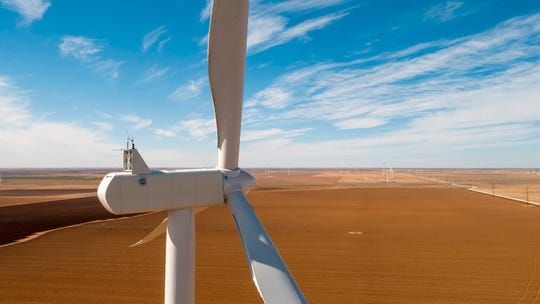 A photo of a wind farm owned by Xcel Energy in Plainview, Texas.