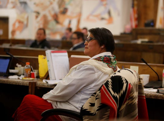 Delegate Eugenia Charles-Newton listens to comments during a Navajo Nation Council special session on Monday in Window Rock, Ariz.