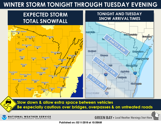 A winter storm warning is in effect for Tuesday night into Wednesday.