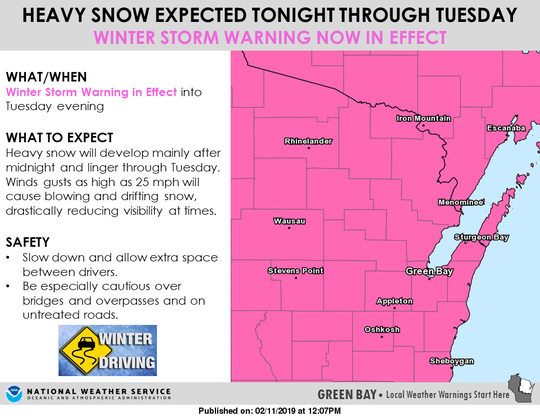 Heavy snow is expected Monday night through Tuesday.