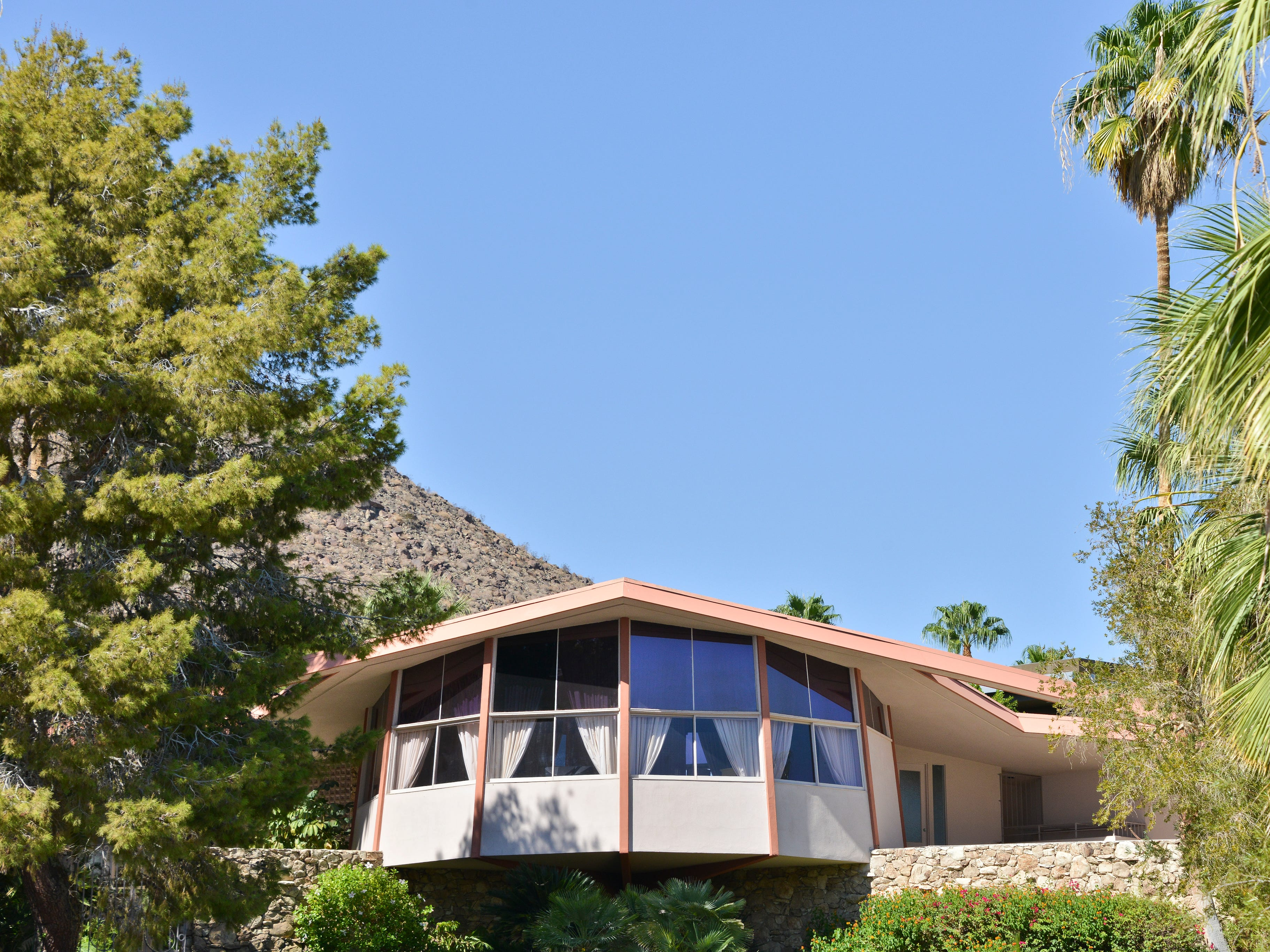 "The Alexander Estate, or ""House of Tomorrow,"" where Elvis and Priscilla Presley honeymooned, in Palm Springs."