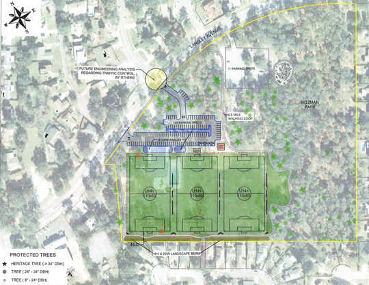 An updated conceptual plan shows what the new soccer fields at Hitzman-Optimist Park could look like.