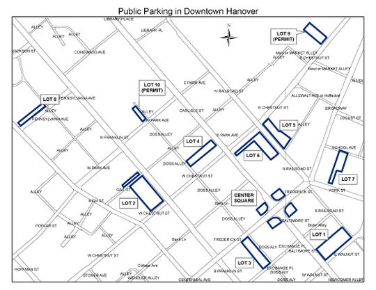 "A map of all the municipal parking lots in Hanover. The lots labeled ""permit"" require a borough parking pass to park in them."