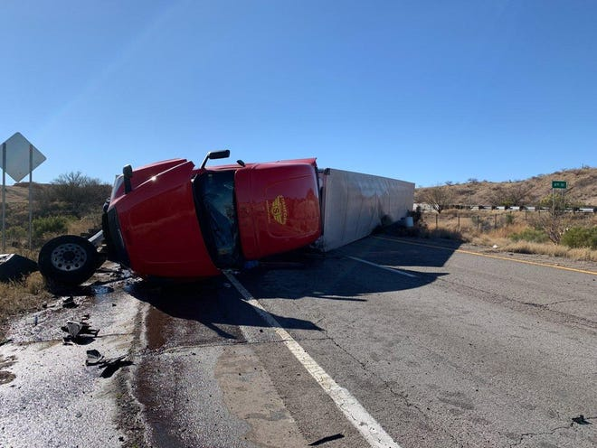 A semi-truck rolled over on eastbound Interstate 10 near Benson causing a closure. No injuries were reported, the Arizona Department of Public Safety said.