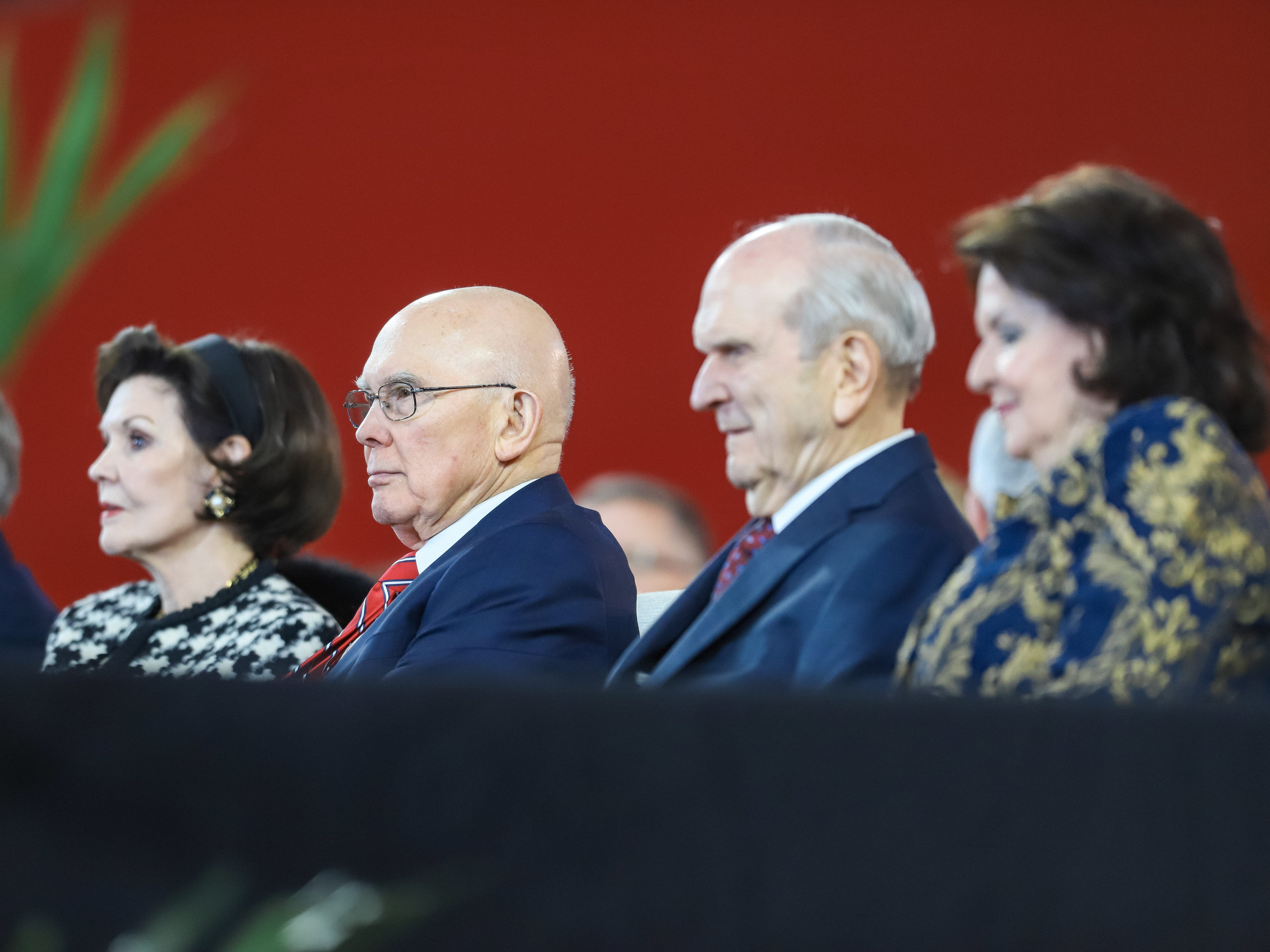 Dallin Oaks (left), first counselor in the first presidency in The Church of Jesus Christ of Latter-day Saints, sits beside President Russell Nelson, at State Farm Stadium in Glendale on Feb. 10, 2019.